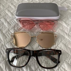 Variety of glasses w/ a zippered case